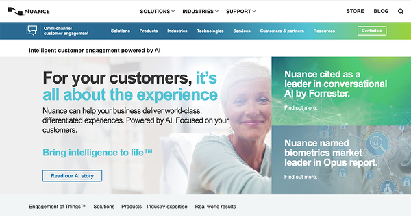 The current Nuance website from 2019