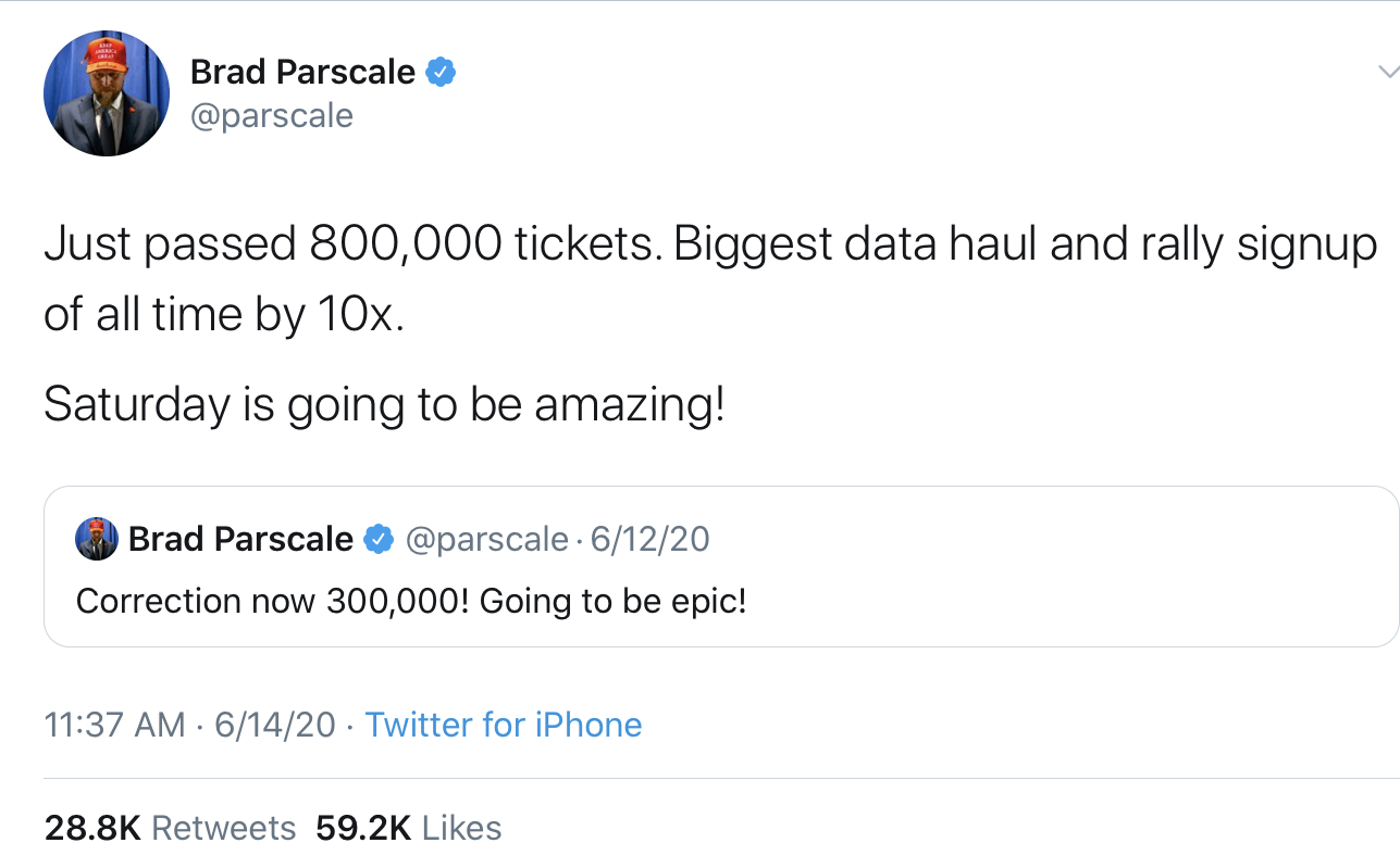 Brad Parscale tweet about the data haul