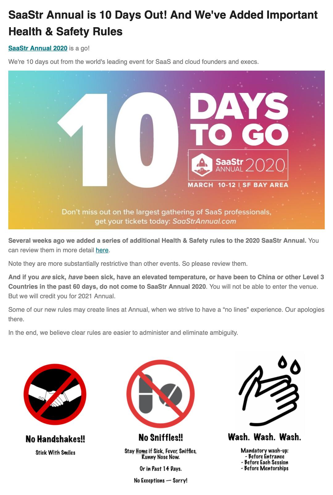 SaaStr Annual Health & Safety Rules