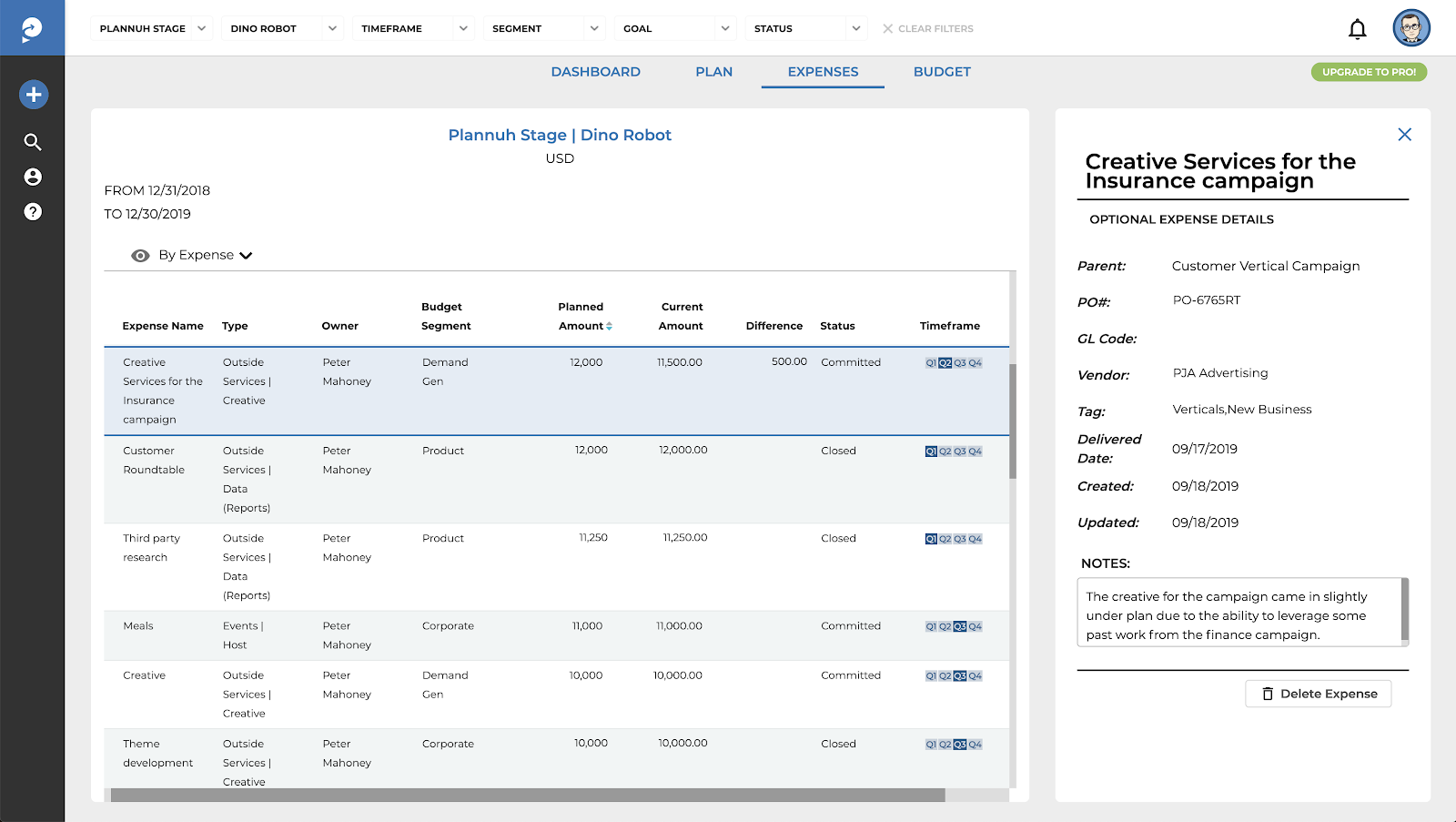 Tracking expense details in the Plannuh Expenses Tab